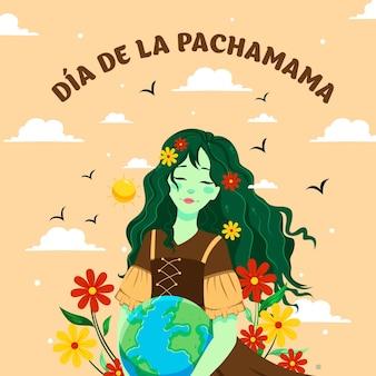 Illustrazione del fumetto del modello dell'insegna di dia de la pachamama Vettore Premium