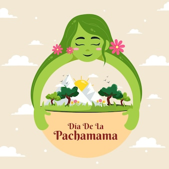 Illustrazione del fumetto del modello dell'insegna di dia de la pachamama
