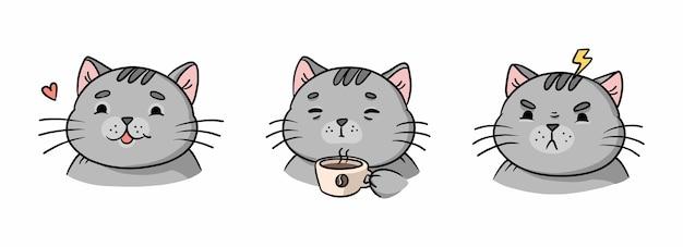 Illustrazione del fumetto di diverse emozioni del gatto grigio
