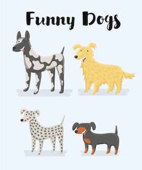 Illustrazione del fumetto di diversi tipi di cani Vettore Premium