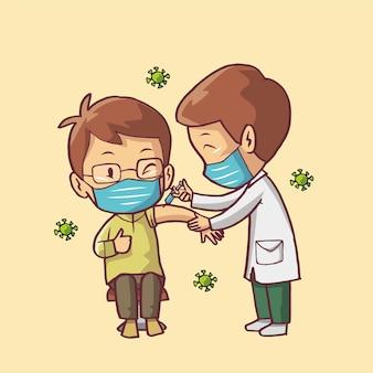 Cartoon illustrazione di un medico che fa un'iniezione a un uomo. siringa per iniezione di virus corona vaccino