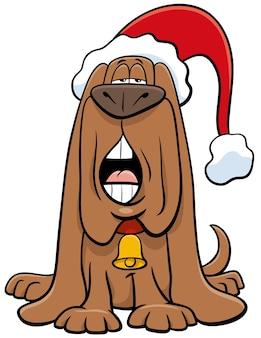 Illustrazione del fumetto del personaggio animale del cane che canta un canto natalizio