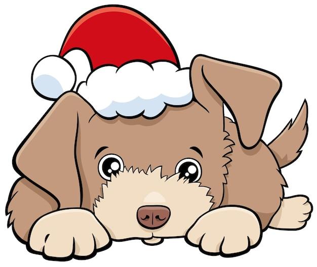 Illustrazione del fumetto di un cane o di un cucciolo di carattere animale nel periodo natalizio