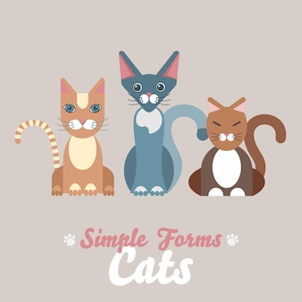 Illustrazione del fumetto gatti domestici. divertenti adorabili animali domestici.