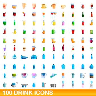 Illustrazione del fumetto delle icone della bevanda messe isolato su bianco