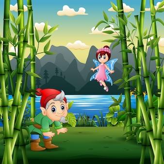 Illustrazione del fumetto di un nano e di una fata nel paesaggio della natura
