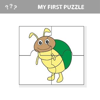Illustrazione del fumetto del gioco di puzzle educativo per bambini in età prescolare con carattere di scarabeo divertente - il mio primo puzzle