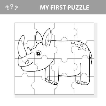 Cartoon illustrazione dell'istruzione gioco di puzzle per bambini in età prescolare con divertenti rinoceronti o animali di rinoceronte - il mio primo puzzle e libro da colorare