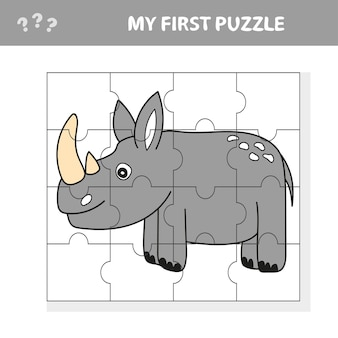 Cartoon illustrazione del gioco di puzzle educativo per bambini in età prescolare con divertenti rinoceronti o animali di rinoceronte - il mio primo puzzle