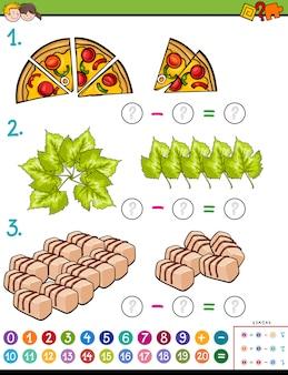 Illustrazione del fumetto del compito di puzzle di sottrazione matematica educativa per i bambini con gli oggetti