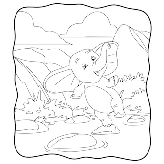 Elefante dell'illustrazione del fumetto che salta sul libro o sulla pagina della roccia del fiume per i bambini in bianco e nero