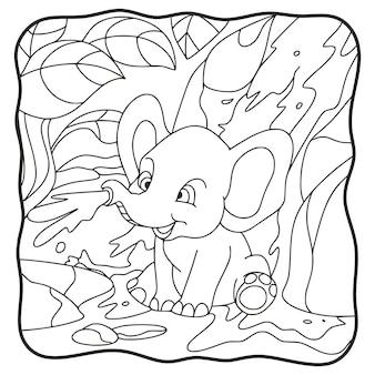 Illustrazione del fumetto elefante che gioca con l'acqua nella cascata libro da colorare o pagina per bambini in bianco e nero