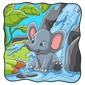 Elefante dell'illustrazione del fumetto che gioca acqua nella cascata