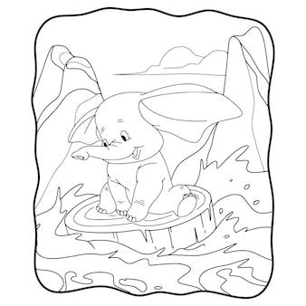 Elefante dell'illustrazione del fumetto che tira legno che galleggia nel libro o nella pagina del fiume per i bambini in bianco e nero