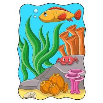 Pesci e granchi dell'illustrazione del fumetto che nuotano nel mare intorno alle barriere coralline