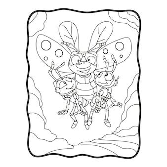 Illustrazione del fumetto le api volanti trasportano 2 formiche libro da colorare o pagina per bambini in bianco e nero