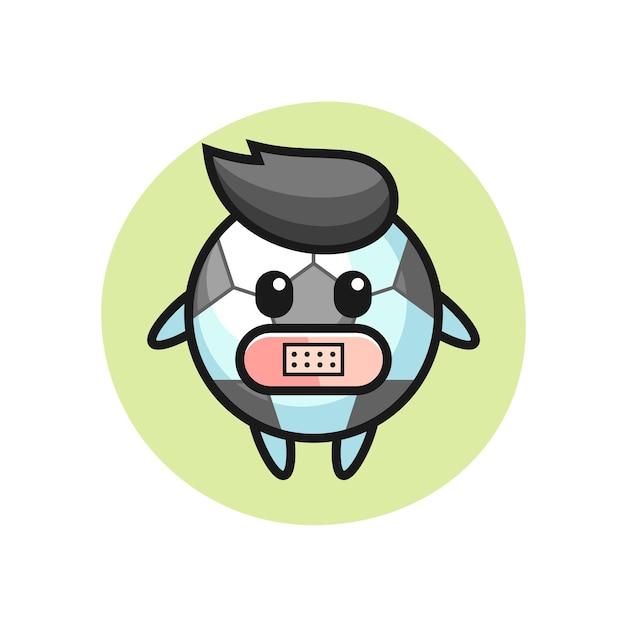 Cartoon illustrazione del calcio con nastro adesivo sulla bocca, design in stile carino per t-shirt, adesivo, elemento logo