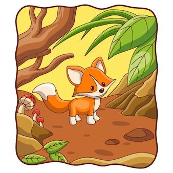 Volpe dell'illustrazione del fumetto che cammina nella foresta