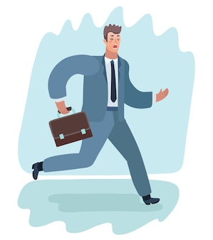 Fumetto illustrazione dell'uomo spaventato in tuta in esecuzione con valigetta.