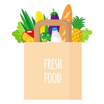 Fumetto illustrazione del sacchetto della spesa pieno di carta con manici con cibo sano isolato su sfondo bianco