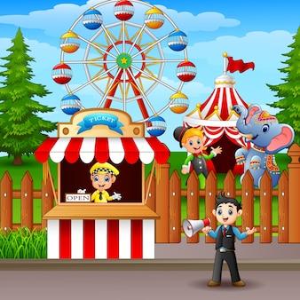 Illustrazione del fumetto in un divertente parco di divertimenti