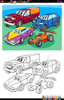 L'illustrazione del fumetto dei caratteri animali divertenti veicoli raggruppa l'attività del libro da colorare Vettore Premium