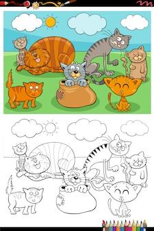 Illustrazione del fumetto di divertenti gatti animali domestici gruppo di caratteri libro da colorare pagina
