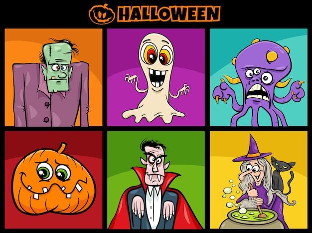 Illustrazione del fumetto del set di personaggi divertenti di halloween