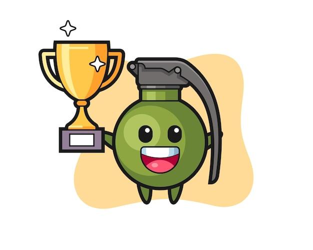 L'illustrazione del fumetto della granata è felice di tenere in mano il trofeo d'oro, un design in stile carino per maglietta, adesivo, elemento logo