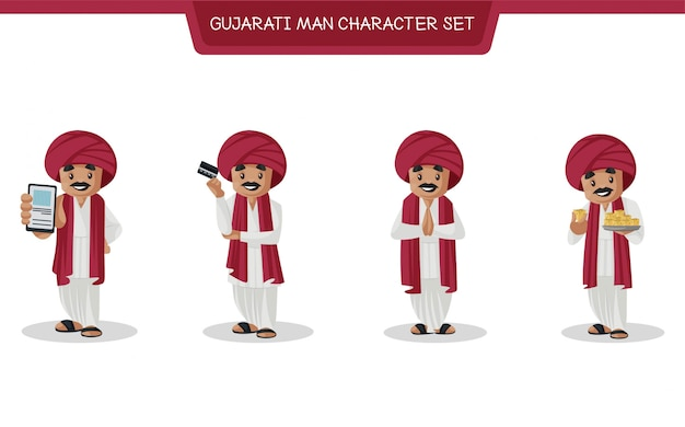 Cartoon illustrazione del gujarati man character set