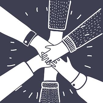 Fumetto illustrazione delle mani insieme su sfondo scuro