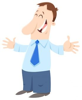 Illustrazione del fumetto dell'uomo o dell'uomo d'affari felice