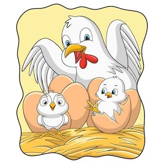 Gallina dell'illustrazione del fumetto che sta incubando le sue uova