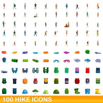 Cartoon illustrazione di escursione set di icone isolato su bianco