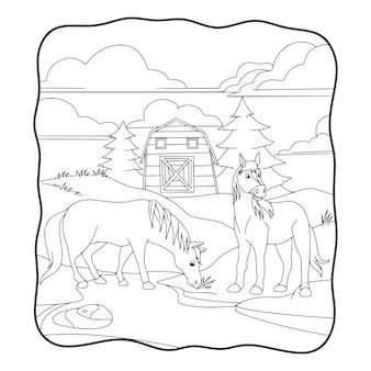 Illustrazione del fumetto il cavallo sta mangiando l'erba davanti al libro stabile o alla pagina per i bambini in bianco e nero