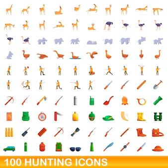 Cartoon illustrazione di caccia set di icone isolati su sfondo bianco