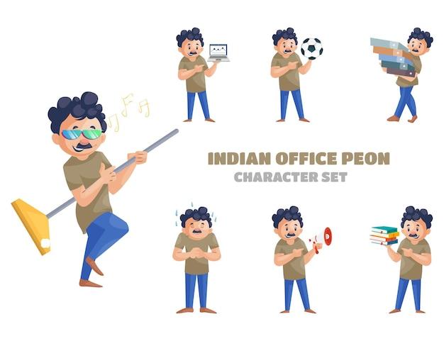 Illustrazione del fumetto del set di caratteri del peone dell'ufficio indiano
