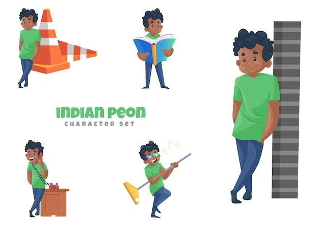 Illustrazione del fumetto del set di caratteri del peone indiano