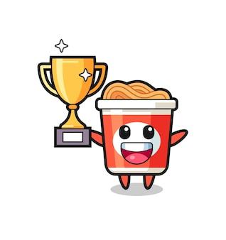 Cartoon illustrazione di spaghetti istantanei è felice tenendo in mano il trofeo d'oro, design in stile carino per t-shirt, adesivo, elemento logo