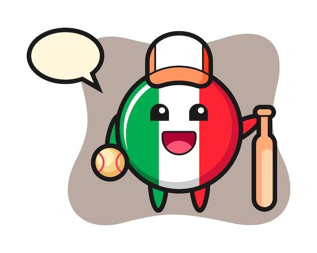 Illustrazione del fumetto del distintivo della bandiera dell'italia come giocatore di baseball, stile carino, adesivo, elemento del logo