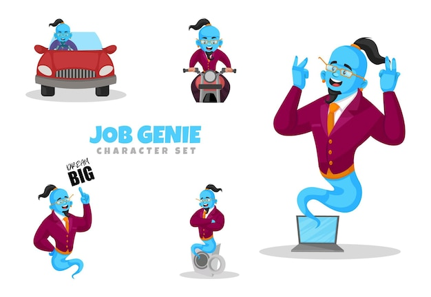 Fumetto illustrazione di set di caratteri genie di lavoro