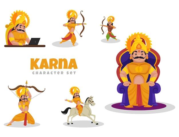 Fumetto illustrazione del set di caratteri di karna