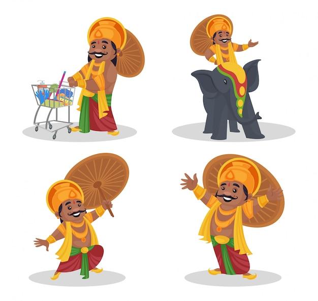 Fumetto illustrazione di re mahabali set di caratteri