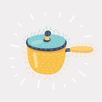 Padella da cucina con illustrazione dei cartoni animati