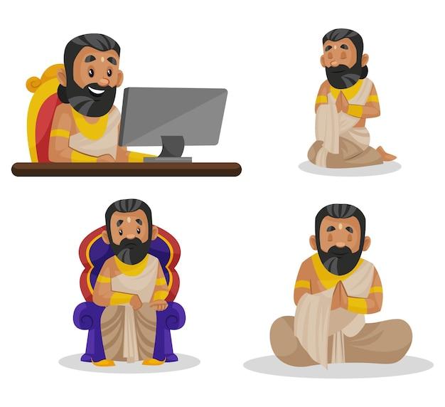 Fumetto illustrazione del set di caratteri kumbhakarn
