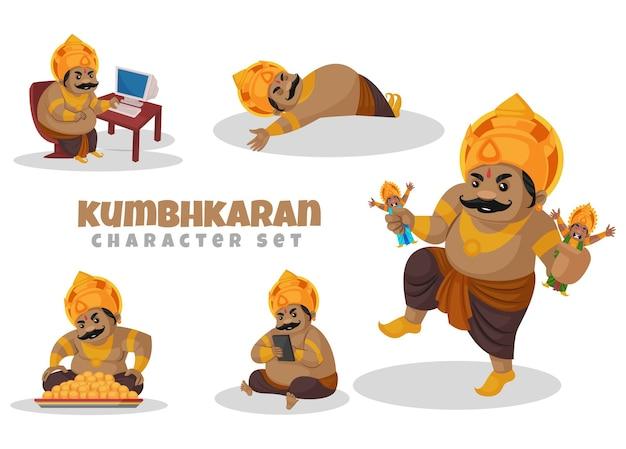 Fumetto illustrazione del set di caratteri kumbhkaran