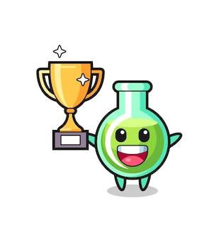 L'illustrazione del fumetto dei bicchieri da laboratorio è felice che sorregge il trofeo d'oro, un design in stile carino per t-shirt, adesivo, elemento logo