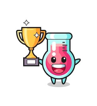 Cartoon illustrazione del bicchiere da laboratorio è felice tenendo in mano il trofeo d'oro, design in stile carino per t-shirt, adesivo, elemento logo