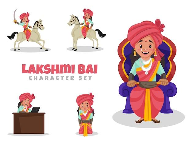Cartoon illustrazione di lakshmi bai character set
