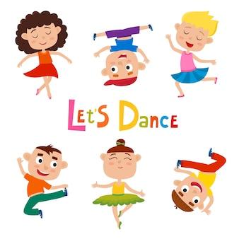 Fumetto illustrazione di piccole ragazze graziose-ballerina e ragazzi felici hipster su bianco, danza moderna, balletto eseguito dai bambini.